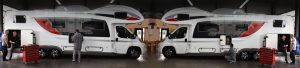 Headerbild für Werkstatt - Wohnwagen und Wohnmobile auf dem Rentmobil Hof von oben